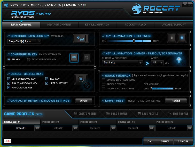Roccat Ryos MK Pro juhtetarkvara
