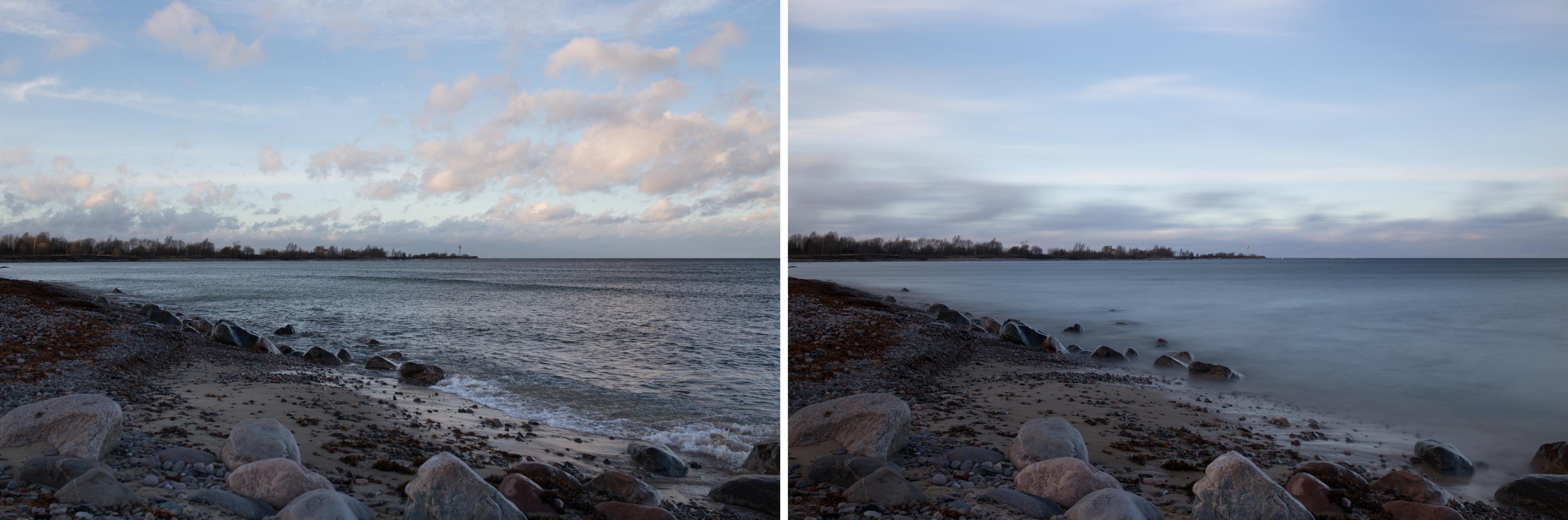 vasakpoole pilt ilma filtrita Säriaeg 1/100 sek, ava F/5, ISO 100. Parempoolne pilt ND1000 filtriga Säriaeg 20 sek, ava F/9, ISO 100
